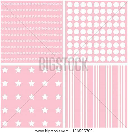 Pink vector set of 4 retro background patterns