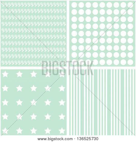 Cute vector set of 4 retro background patterns