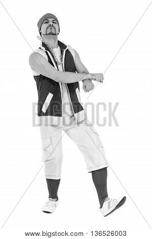 colorless portrait of friendly man dressed like a funny gnome dancing Isolated on white background in full length.