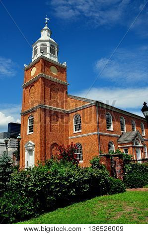 Baltimore Maryland - July 22 2013: Old Otterbein Church built in 1785 is the oldest house of worship in continual use in the city