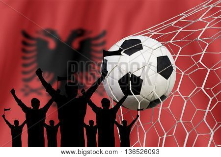 Silhouettes Of Soccer Fans With Flag Of Albania  .cheer Concept