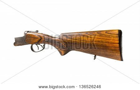 wooden butt of a gun isolated on white background.