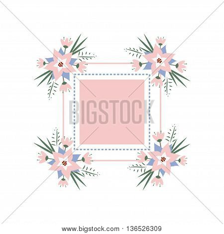 vector floral vignette in the form of a rectangle. Delicate floral frame for invitations, cards, stickers for wedding, birthday, holiday.