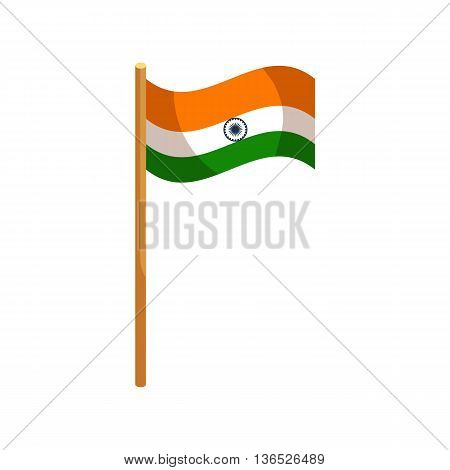 Flag of India icon in cartoon style isolated on white background. State symbol
