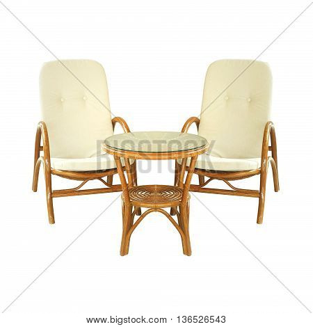 Garden furniture set isolated on a white