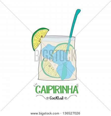 Alcoholic lime with ice cocktail illustration for restaurant business