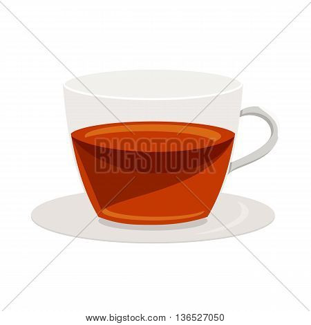 Cup of tea icon in cartoon style isolated on white background. Drink symbol