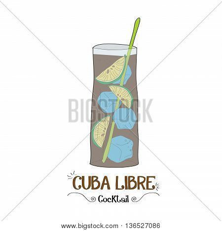Cocktail with soda illustration for restaurant business