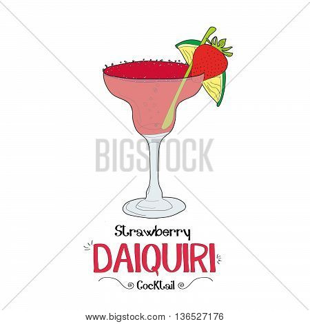 Alcoholic strawberry cocktail illustration for restaurant business