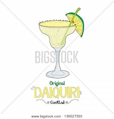 Alcoholic lime cocktail illustration for restaurant business