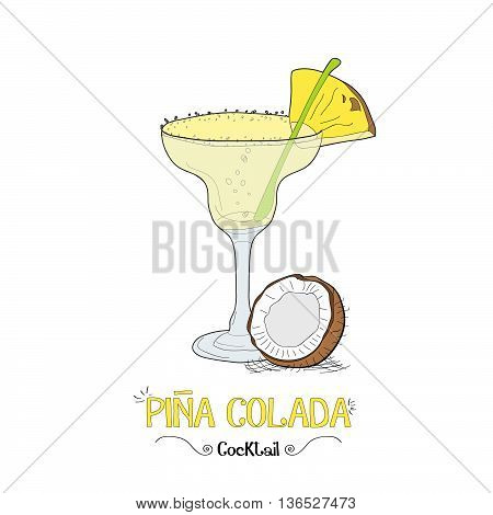 Alcoholic pineapple cocktail illustration for restaurant business