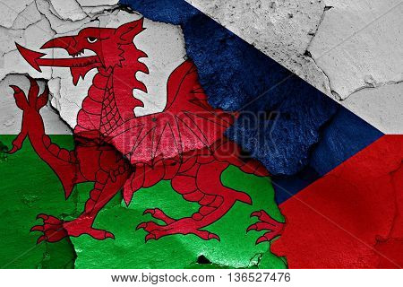 Flags Of Wales And Czechia Painted On Cracked Wall