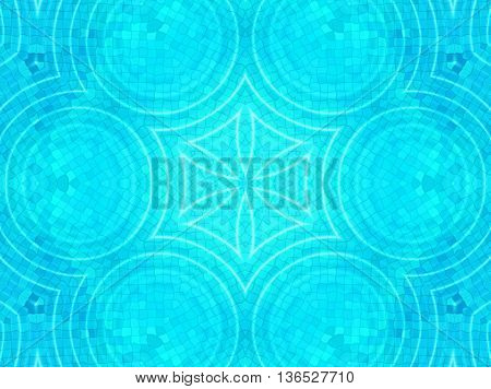 Bright blue tile background with concentric water ripples pattern