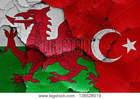 Flags Of Wales And Turkey Painted On Cracked Wall