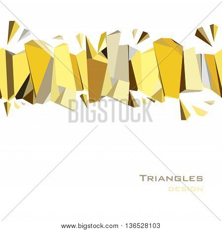 Golden abstract geometric background. Horizontal gold border geometric design. Golden crystal geometric abstract triangles border design on white background. Golden vector illustration stock vector.