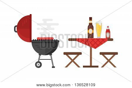 Kettle barbecue grill isolated on white and kettle barbecue grill accessory. Vector camping kettle barbecue grill and metal stove cook device kettle barbecue grill. Picnic cooking bbq device.