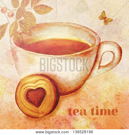 'Tea Time' concept: vintage style collage sepia toned with watercolor leaves with berries butterfly and cup of tea with biscuit with heart-shaped cream filling on abstract background textures