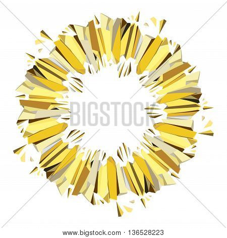 Golden abstract geometric background. Circle gold border geometric frame. Golden crystal geometric abstract triangles border design on white background. Golden vector illustration stock vector.