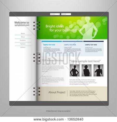 Modelo de design do site, vetor.