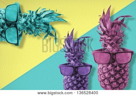 Colorful Happy Pineapple Fruit Wearing Sunglasses