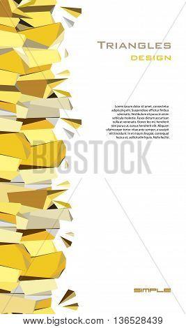 Golden abstract geometric background. Vertical gold border geometric design. Golden crystal geometric abstract triangles border design on white background. Golden vector illustration stock vector.