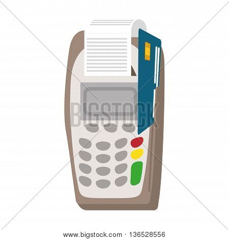 Money and Financial item concept represented by dataphone icon. isolated and flat illustration