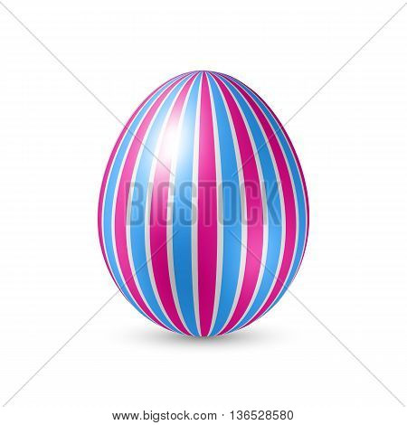 Easter Egg with Vertically Strips Pattern. Illustration on White Background
