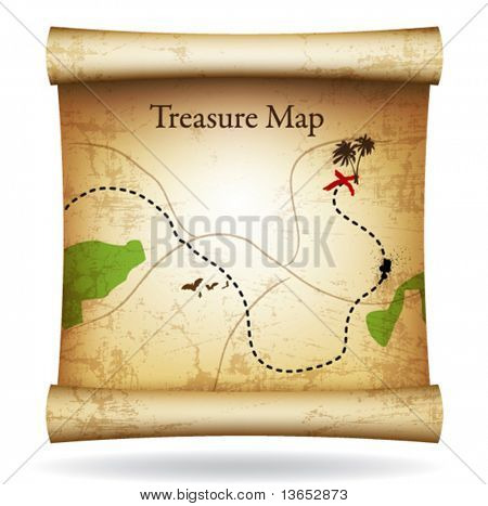 Treasure map. Vector.