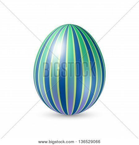 Easter Egg with Vertically Strips Texture. Illustration on White Background