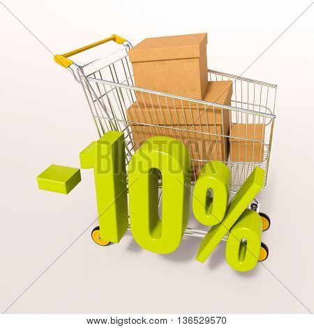 3d render: shopping cart and green 10 percentage discount sign on white, sale 10%