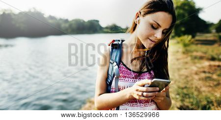 Adventure Backpack Destination Outdoor Leisure Concept