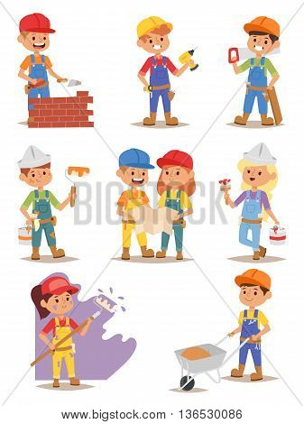 Builders kids carpenter boy builder tools set. Vector characters builders kids, cute child construction. Yellow helmet little person work equipment builders kids. Constructor game fun profession.
