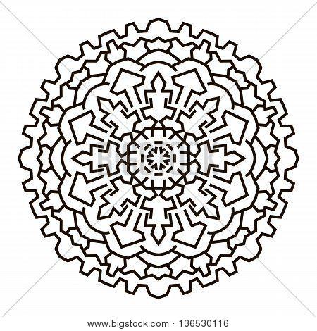 Greek mandala. Circular symmetrical pattern in ethnic style.
