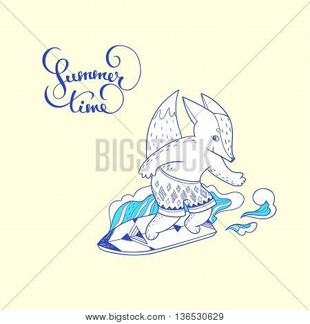 Summer time. hand drawn illustration with cute fox surfer