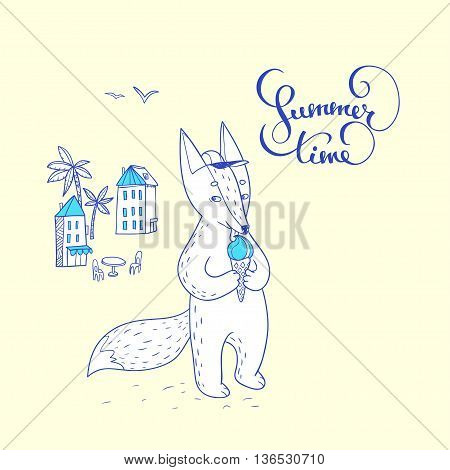 Summer time. hand drawn illustration with cute fox on the street