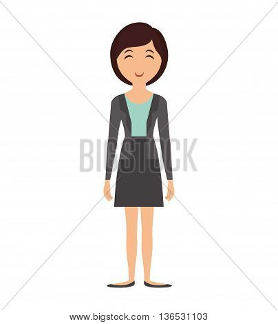 Person concept represented by cartoon woman icon. Isolated and Flat illustration
