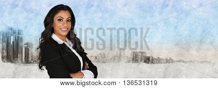 Female businesswoman standing outside against the skyline