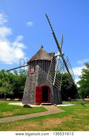 Eastham Massachusetts - July 14 2015: 1680 Eastham Windmill the oldest windmill on Cape Cod
