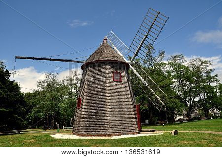 Eastham Massachusetts: - July 14 2015: 1680 Eastham Windmill the oldest windmill on Cape Cod