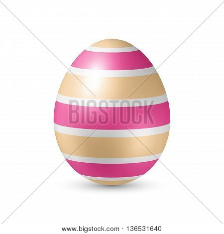 Easter Egg with Strips Texture - Standing Vertically on White with Shadow