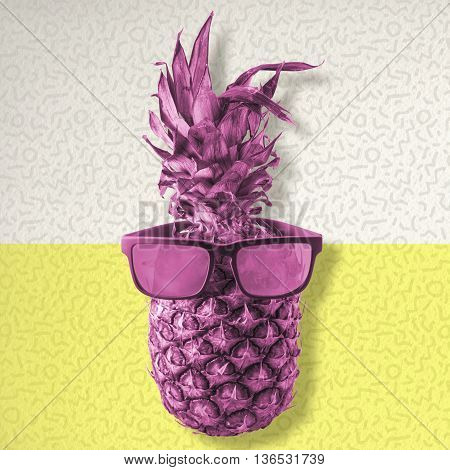 Colorful Pineapple Wearing Retro Summer Sunglasses