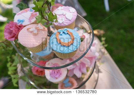 Beautiful sweet buffet with cupcakes. Candy Bar.
