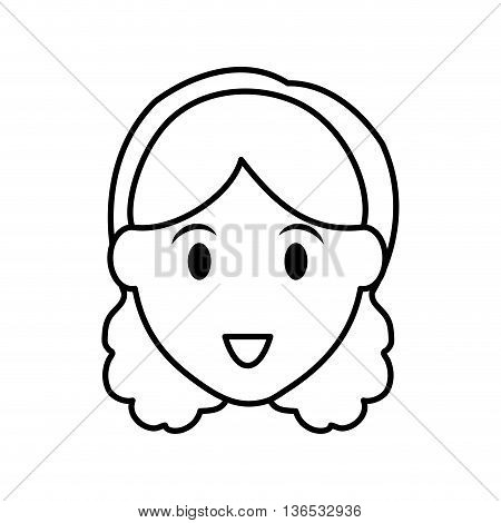 Person concept represented by silhouette of woman head icon. Isolated and Flat illustration