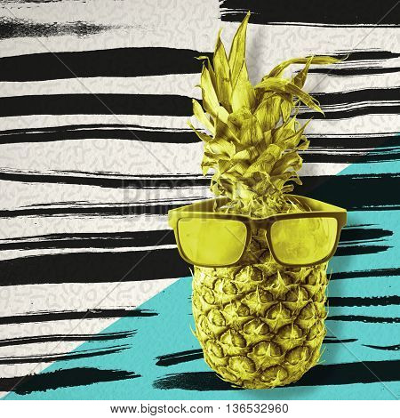 Retro Pineapple In Sunglasses Over Paint Brush Art