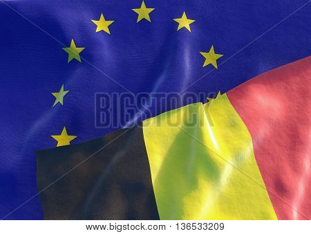 Flags of the Belgium and the European Union. Belgian Flag and EU Flag. 3D render