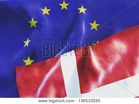 Flags of the Denmark and the European Union. Danish Flag and EU Flag. 3D render