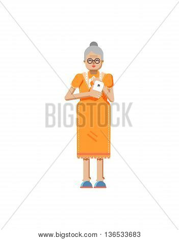 Stock vector illustration isolated of European retiree, elderly woman, white hair, glasses, with smartphone in hand, woman looking into screen of phone, flat style on white background