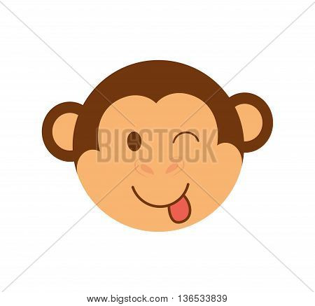Cute animal concept represented by head of cartoon monkey icon. Isolated and Flat illustration