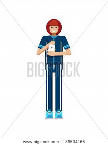 Stock vector illustration isolated of European woman red hair in tracksuit, touches screen, athlete, woman with smartphone in hand, woman looking into screen of phone in flat style on white background