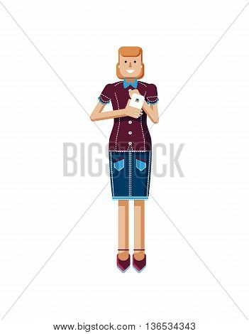 Stock vector illustration isolated of European woman with orange hair in denim skirt touches the screen, woman with smartphone in hand, woman looking into screen of phone, flat style, white background